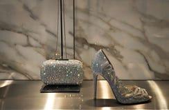 氧化锆妇女鞋子和小乞求 免版税库存图片