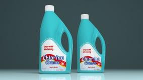 氯擦净剂塑料瓶 3d例证 库存例证