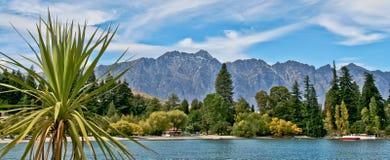水、山、结构树和小船全景  免版税图库摄影