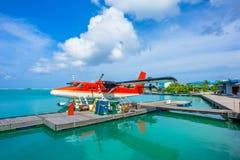 水上飞机在男性机场,马尔代夫 库存照片