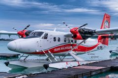 水上飞机在男性机场 免版税图库摄影
