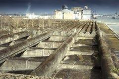 水下地堡系统的上面在圣Nazarre,法国的 免版税图库摄影