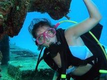水下潜水员的水肺 库存图片