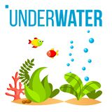 水下的世界传染媒介 底下,鱼,海草,泡影 被隔绝的平的动画片例证 库存例证