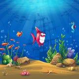 水下的世界有鱼传染媒介例证背景 库存图片