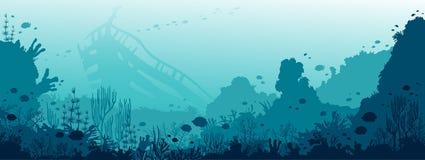 水下的击毁、珊瑚礁、鱼和海 免版税库存照片