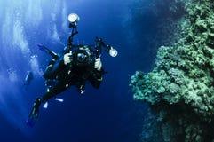 水下的摄影师 图库摄影