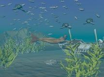 水下的棱皮海龟 库存例证