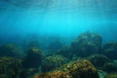 水下的海景阳光和岩石在海底 免版税图库摄影