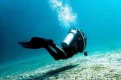 水下的潜水者,当潜水时 库存图片