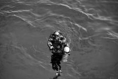 水下的潜航的潜水者,人在洪加达,埃及海  图库摄影