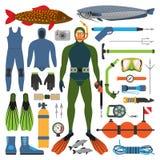 水下的狩猎和猎人供以人员与枪的字符其他渔设计设备武器传染媒介例证 库存图片