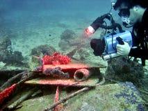 水下的电视录象制作 库存照片