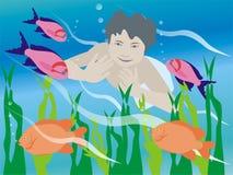 水下的男孩 皇族释放例证