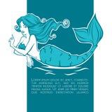 水下的美丽的美人鱼,女孩您的标签的动画片图象 免版税库存照片