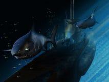 水下的鲨鱼 库存例证