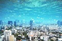 水下的megapolis城市 免版税库存照片
