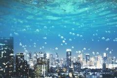 水下的megapolis城市 免版税库存图片