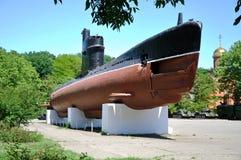 水下` Malyutka ` M-296 市的海岸炮和海军411个电池纪念博物馆傲德萨 库存图片