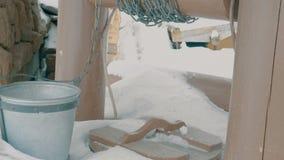 水井老石与木桶和铁圆环 影视素材