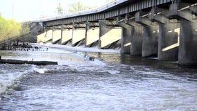 水力发电站 在水坝的水溢出 影视素材
