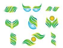 水叶子太阳标志象集合商标摘要植物春天自然健康生态传染媒介 向量例证
