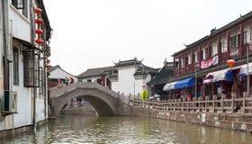 水周庄的村庄 图库摄影