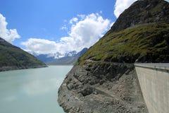 水坝des dix dixence重创的LAC瑞士 图库摄影