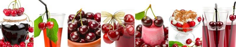 水多的在白色背景和果酱隔绝的樱桃,汁液 平底锅 免版税库存照片