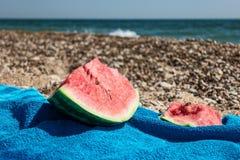 水多的成熟红色西瓜片断  库存照片