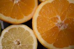 水多的桔子和柠檬特写镜头  库存图片