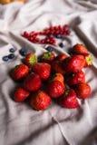 水多的红色草莓的一个大客人在被装饰的织品说谎 蓝莓,红浆果在背景中 免版税图库摄影