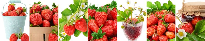 水多的草莓、在白色背景隔绝的汁液和果酱 免版税库存图片