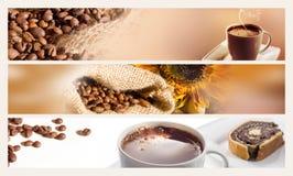 水平横幅的咖啡 免版税库存照片