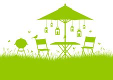 水平的夏天庭院烤肉剪影背景绿色 向量例证