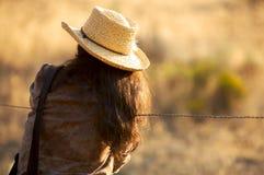 水平的女牛仔 免版税库存照片