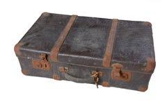 水平的手提箱葡萄酒 库存图片