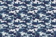 水平的横幅无缝的伪装样式背景 经典衣物样式掩没的camo重复印刷品 蓝色,海军 向量例证
