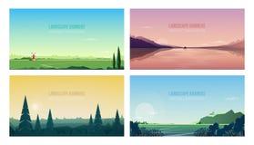 水平的横幅模板的汇集与壮观的自然风景或风景的 捆绑美丽 向量例证