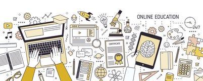 水平的横幅用键入在膝上型计算机键盘和各种各样的办公用品的手 在网上或远程教育, e 皇族释放例证