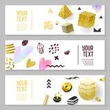 水平的横幅设置与金子闪烁几何元素 海报邀请证件模板 抽象卡片设计 免版税库存照片