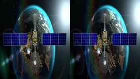 水平的歪象的立体声对,虚构的人造卫星接近与日出, 3d的地球动画 库存例证