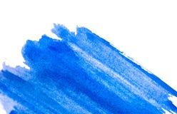 水平的水彩背景 蓝色水彩纹理 免版税库存图片