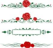 水平的玫瑰 库存例证