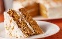 水平蛋糕的红萝卜 库存图片