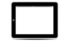 水平黑屏黑色片剂的个人计算机 库存照片