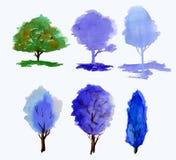 水彩一棵平安的树的得出的例证在beautyful绿色口气的在白色 集合 库存照片