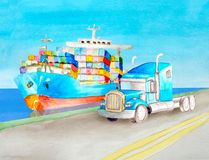 水彩一辆蓝色容器卡车和一台蓝色美国半拖车拖拉机的运输概念没有一个身体反对 图库摄影
