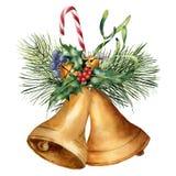 水彩与假日装饰的圣诞节铃声 与霍莉,槲寄生,糖果,冷杉分支的手画花卉构成 库存例证