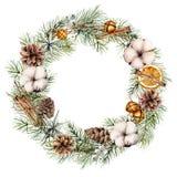 水彩与冬天装饰的圣诞节花圈 与锥体的手画冷杉边界,棉花,橙色切片,响铃 免版税库存图片